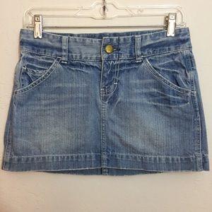 AEO Cute Lightly Distressed Blue Denim Mini Skirt